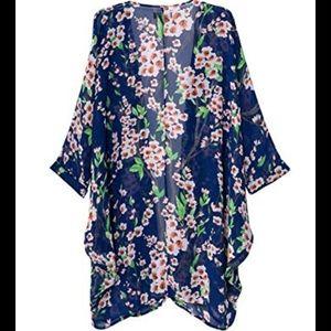 🆕Navy Blue Floral Cherry Blossom Kimono - S